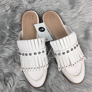 A new day white fringe mules 9.5